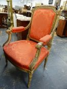 A CARVED AND PAINTED SALON OPEN ARMCHAIR IN THE FRENCH TASTE