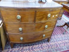 A LATE GEORGIAN MAHOGANY SMALL BOW FRONT CHEST OF DRAWERS