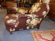 A VICTORIAN HOWARD AND SONS DEEP SEAT CLUB ARMCHAIR, STAMPED BRASS CASTORS AND STAMPED MAKERS NAME