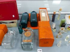 VARIOUS PERFUME MINIATURES IN ADDITION TO A HERMES BOTTLE, BOXES,ETC.