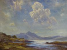 HENDERSON TARBET, SALMON IN THE INLET, SIGNED, OIL ON CANVAS, 39 X 49.5CM.