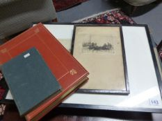 AN INTERESTING COLLECTIVE LOT OF BOOKS AND PRINTS TO INCLUDE TWO FOLIO VOLUMES OF LEECH'S