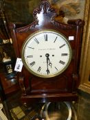 A GEORGIAN MAHOGANY CASED BRACKET CLOCK WITH PAINTED DIAL SIGNED HANDLEY & MOORE, LONDON. TWO