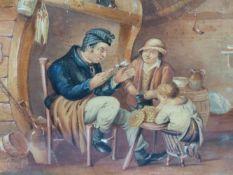 MANNER OF DAVID WILKIE, INTERIOR SCENE WITH MAN AND DOG, INTERIOR SCENE WITH PARENTS AND CHILD,