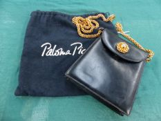 A PICASSO BAG, BLACK LEATHER WITH CHAIN STRAP AND DETAILING.