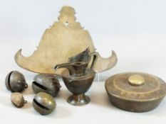 A LARGE BRONZE TIBETAN PANEL GONG TOGETHER WITH FOUR BRASS BELLS, A FURTHER EASTERN GONG AND A