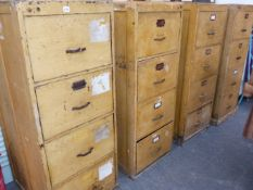 A SET OF FOUR EARLY 20TH.C.FOUR DRAWER FILING CABINETS WITH SCUMBLE PAINT DECORATION, EACH MEASURING