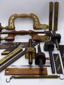 TWO ANTIQUE BOXWOOD AND BRASS MOUNTED DRILL BRACE, VARIOUS BRASS MOUNTED SPIRIT LEVELS, THREE