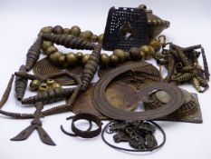 A LARGE AND HEAVY AFRICAN BRASS TRADE CURRENCY BEAD NECKLACE, A PAIR OF BRASS COIL PENDANT, TWO