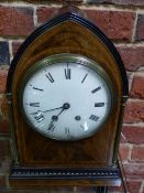 A 19TH.C.MAHOGANY CASED LANCET TOP MANTLE CLOCK , UNSIGNED CONVEX ENAMEL DIAL WITH TWO TRAIN GONG