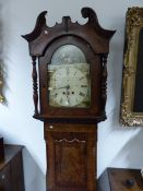 "A 19TH.C.MAHOGANY AND CROSSBANDED CASED EIGHT DAY LONG CASE CLOCK WITH 13"" PAINTED ARCH DIAL. 223CMS"