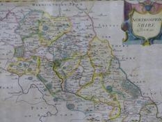 SIX VARIOUS ENGRAVED MAPS, COMPRISING NORTHAMPTONSHIRE, BUCKINGHAMSHIRE, DERBYSHIRE AND PARIS.