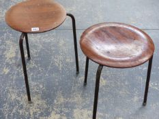 A PAIR OF ROUND MOULDED PLYWOOD SEAT RETRO STOOLS.