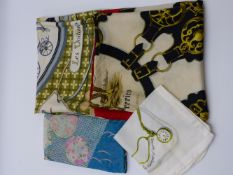 TWO HERMES SCARVES AND TWO FURTHER SCARVES.