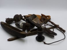 A GROUP OF VARIOUS AFRICAN TREEN ARTIFACTS TO INCLUDE TWO PENDANTS, A WEAVING SHUTTLE, A SHORT STAFF