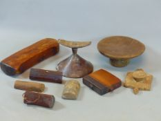 A COLLECTION OF VARIOUS AFRICAN CARVED WOOD HEADRESTS AND STOOLS ETC (9)