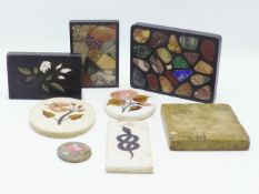 A 19TH. CENTURY GRAND TOUR HARDSTONE INSET PIETRA DURA PANEL, INSCRIBED FROM THE BATHS OF CARACALLA,