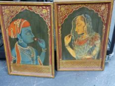 A PAIR OF ANTIQUE INDIAN POLYCHROME PAINTED PANELS DEPICTING MALE AND FEMALE IN TRADITIONAL COSTUME