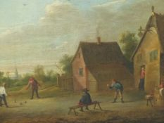 MANNER OF DAVID TENIERS THE YOUNGER, PEASANTS PRACTISING ARCHERY,PEASANTS PLAYING SKITTLES, OIL ON