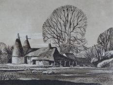 ROWLAND HILDER (1905-1993) (ARR), OAST HOUSES AT CHIDDINGSTONE, KENT,SIGNED,ETCHING, 20 X 25CM. (