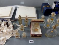 VARIOUS GUERLAIN PERFUME BOTTLES TOGETHER WITH TWO GUERLAIN BOOKS.