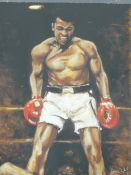 """RONNIE WOOD (B.1947) (ARR), MUHAMMAD ALI, SIGNED IN SILVER PEN, ALSO INSCRIBED """"TRIAL PROOF 1/5"""