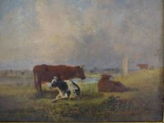 MANNER OF THOMAS SIDNEY COOPER, CATTLE BY A RIVER BANK, OIL ON PANEL, 20 X 23.5CM.