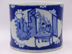 A CHINESE BLUE AND WHITE LARGE BRUSH POT WITH PANELS OF FIGURES AND FOUR CHARACTER MARK UNDERFOOT.