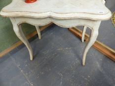 A SMALL FRENCH OAK CENTRE TABLE ON SHAPED CABRIOLE LEGS. 78CMS.WIDE