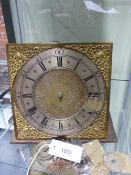 "AN 18TH.C.30 HOUR LONG CASE CLOCK MOVEMENT WITH 10"" BRASS DIAL AND SILVERED CHAPTER RING SIGNED JOHN"