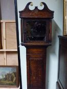 "TWO 18TH.C. LONG CASE CLOCK CASES, THE FIRST WITH 10.5"" WINDOW, STANDING 194CMS HIGH, THE SECOND"