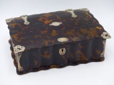 A FLUTED TORTOISE SHELL AND WHITE METAL HINGED BOX. (WIDTH APPROX 17.5CMS)