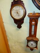 AN EARLY 20TH.C.ANEROID BANJO BAROMETER BY SHORT & MASON WITH ADVERTISING DIAL FOR HARRY HALL LTD