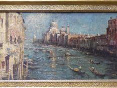 VENETIAN SCHOOL, VIEW OF THE GRAND CANAL, OIL ON BOARD, 33.5 X 61.5CM.