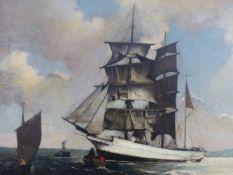 BERTRAM NICHOLLS (1883-1974), BARQUE, OIL ON BOARD, 39.5 X 60CM.