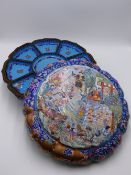 A CANTONESE ENAMEL BOX, THE FITTED INTERIOR WITHIN A CUSHION FORM CASE, FIGURAL DECORATION TO TOP,