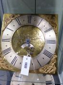 "AN 18TH.C.30 HOUR LONGCASE CLOCK MOVEMENT AND 11"" BRASS DIAL SIGNED SAM HARLEY, SALOP."
