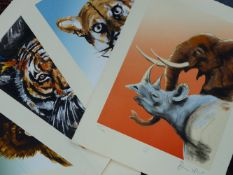 RONNIE WOOD (B.1947) (ARR), TUSK, FLORIDA PANTHER, TIGER, AND MANDRILL, THE SET OF FOUR, ALL SIGNED,