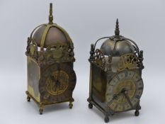 AN EARLY 20TH.C.BRASS LANTERN STYLE DESK CLOCK, THE DIAL ENGRAVED WITH ROYAL COAT OF ARMS AND GR