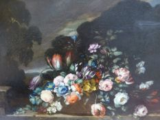 DUTCH SCHOOL (LATE 18TH/EARLY 19TH CENTURY), STILL LIFE OF TULIPS AND OTHER FLOWERS ON A LEDGE,
