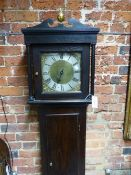 "AN 18TH.C. LONG CASE CLOCK. 10"" BRASS DIAL WITH SILVERED CHAPTER RING SIGNED ARNOLD, CHILDOKEFORD."