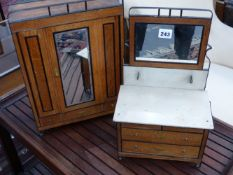 AN EARLY 20TH.C.MINIATURE OAK WASHSTAND AND WARDROBE.