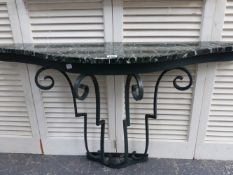 A SHAPED MARBLE TOP AND WROUGHT IRON 1930'S DESIGN CONSOLE TABLE. 114CMS. WIDE X 62CMS. HIGH