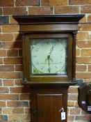 "A GEORGIAN 30 HOUR LONG CASE CLOCK, PLAIN OAK CASE WITH PILLARED HOOD, PAINTED 11"" DIAL SIGNED J L"