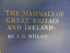 J.G.MILLAIS, THE MAMMALS OF GREAT BRITAIN AND IRELAND, THREE FOLIO VOLUMES, LONDON, 1905, LIMITED