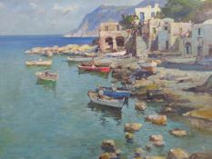 BOUVARD (20TH CENTURY) (ARR), CONTINENTAL SHORE LINE WITH FISHING BOATS, SIGNED, OIL ON CANVAS, 59.5