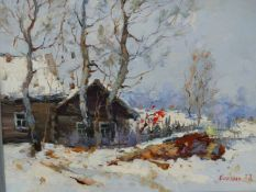 ALEXANDER KOLOTILOV (B.1946) RUSSIAN,THE EDGE OF THE VILLAGE IN SNOW,SIGNED,OIL ON CANVAS, INSCRIBED