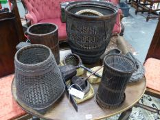 A GROUP OF JAPANNESE IKEBANA AND OTHER ORIENTAL WOVEN BASKETS AND UTENSILS. ( QTY)