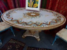 A 19TH.C.CONTINENTAL PEDESTAL CENTRE TABLE WITH PAINT DECORATION. 151CMS.WIDE.