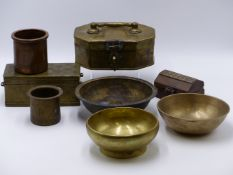 THREE MIDDLE EASTERN COPPER AND BRASS SPICE BOXES, TWO INDO-PERSIAN SMALL BEAKERS, THREE EASTERN